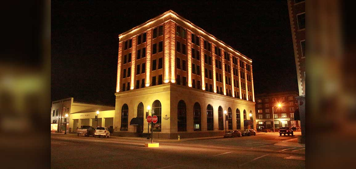 Night time photo of bank.